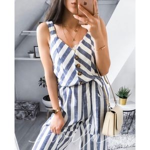 Striped jumpsuit blue white buttoned belted